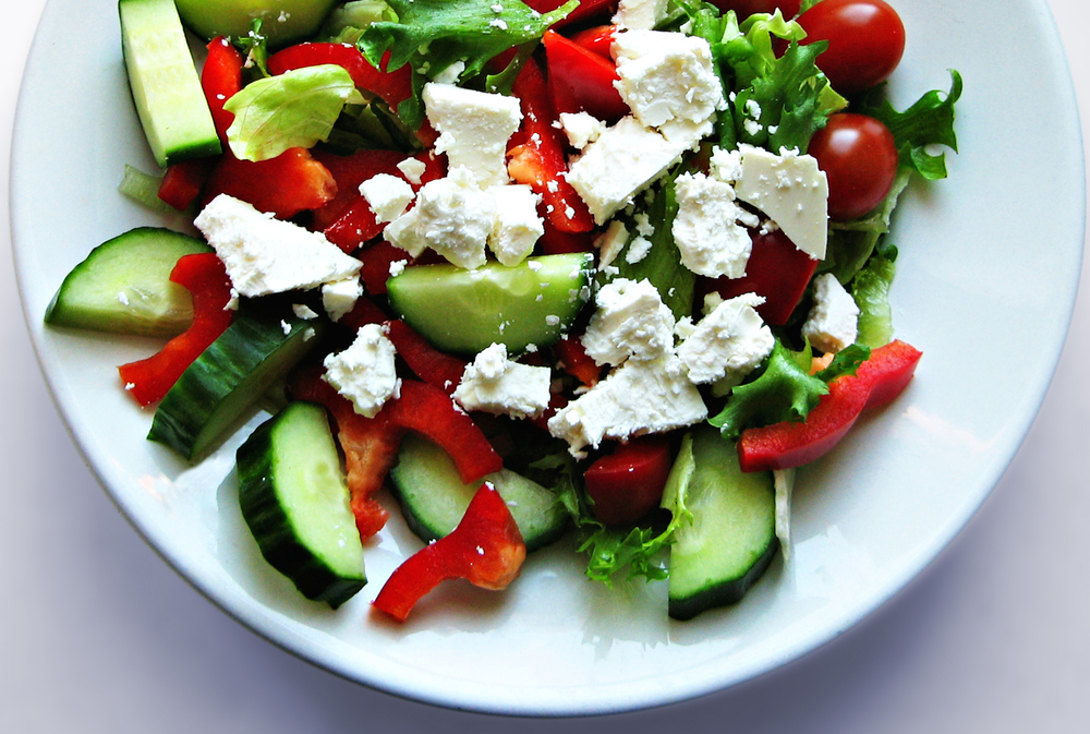 GREEK SALAD Tomato, Onion, Cucumber, Peppers, Olives & Feta.