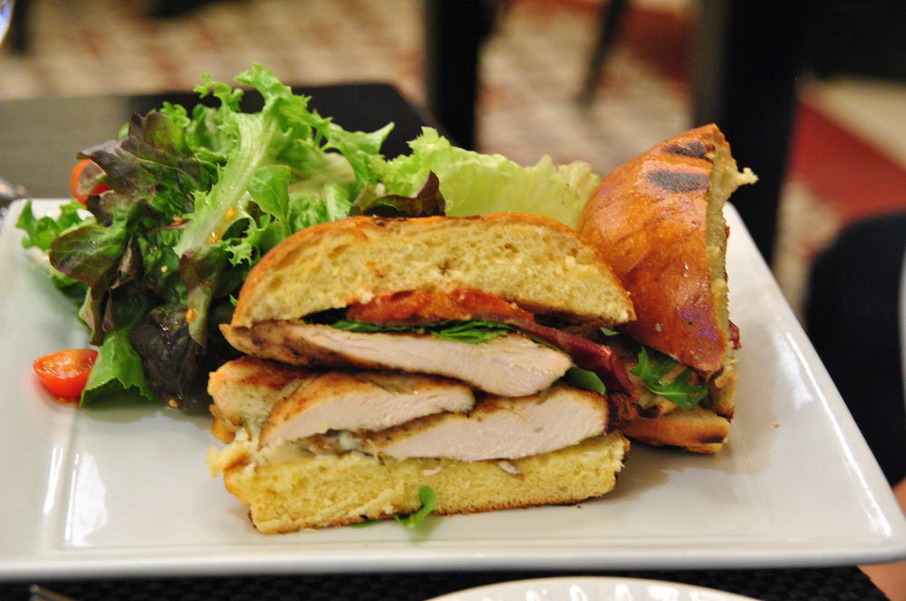 GRILLED CHICKEN BREAST SANDWICH     Lettuce, Tomato,  Bacon & Cheese.