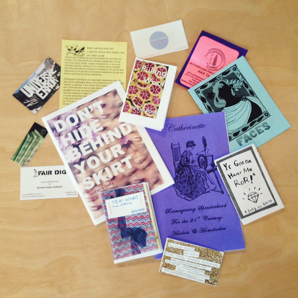 Co-founder KC's zine haul from LA Zine Fest.