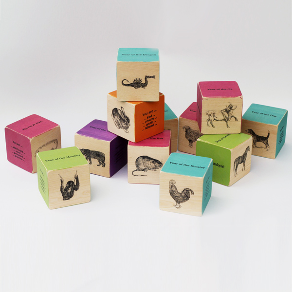 Stacy's signature birth blocks in assorted colors.