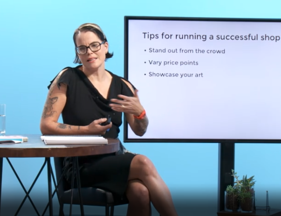 "Screenshot of Lisa Congdon on day two of her CreativeLive titled ""Become a Working Artist."""