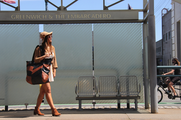 Anna models the Vincie Traveller, Paris edition, on the Embarcadero, SF. This is what I love to make. [photo: Brice]