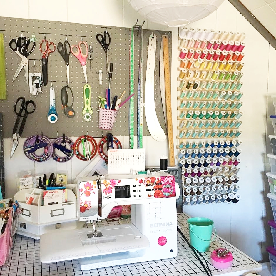 Magical sewing area! I spend most of my time here and at the ironing board. The machine I'm currently using is a Bernina 350SE, and it's the Tula Pink edition (I met Tula Pink at Quilt Market when I was a fabric buyer and have been a fangirl ever since).