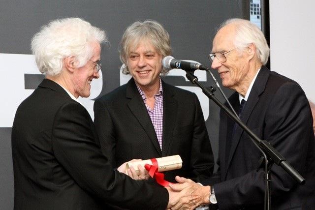 (l to r) Rupert Hine, Sir Bob Geldof, Sir George Martin