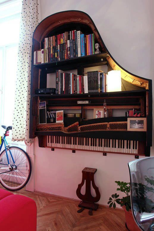 Tired of your old piano or instrument? Take a look at this. A bookshelf is easily made and gives your home a complete new look.