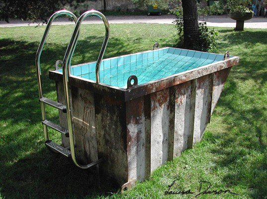 How would you like a dumpster summer dive in your backyard? An old container can be useful to create your private pool.