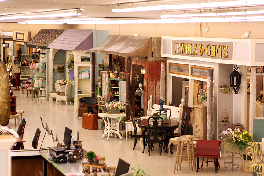 "A row of ""storefronts"" found inside Woodstock Market"