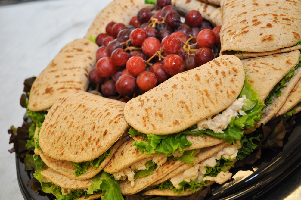 Lesa's White Truffle Chicken Salad on Whole Wheat Pitas.
