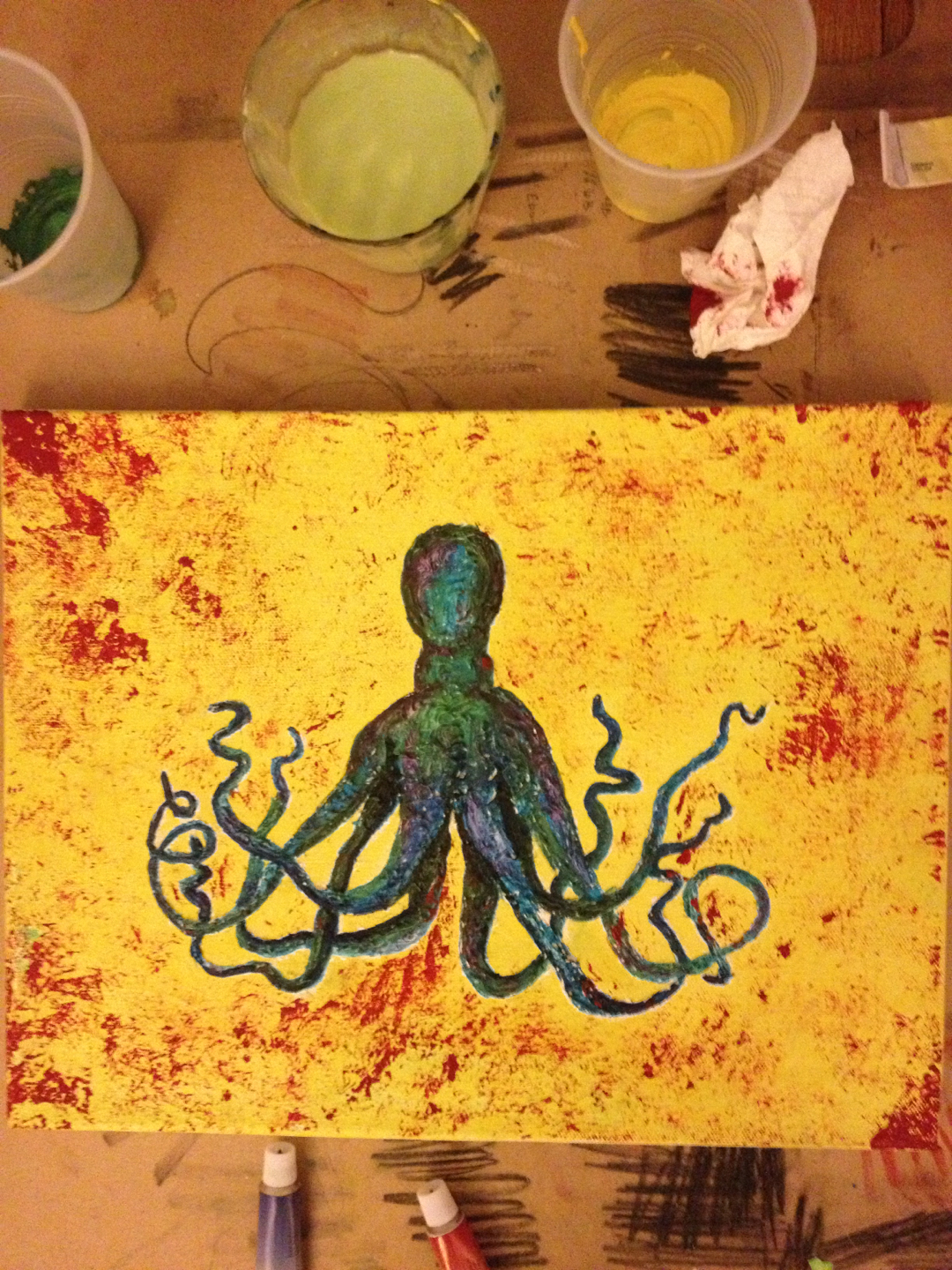 I painted an octopus. Mixed paint medium — gauche, acrylic, gesso (also acrylic) and oil paints.