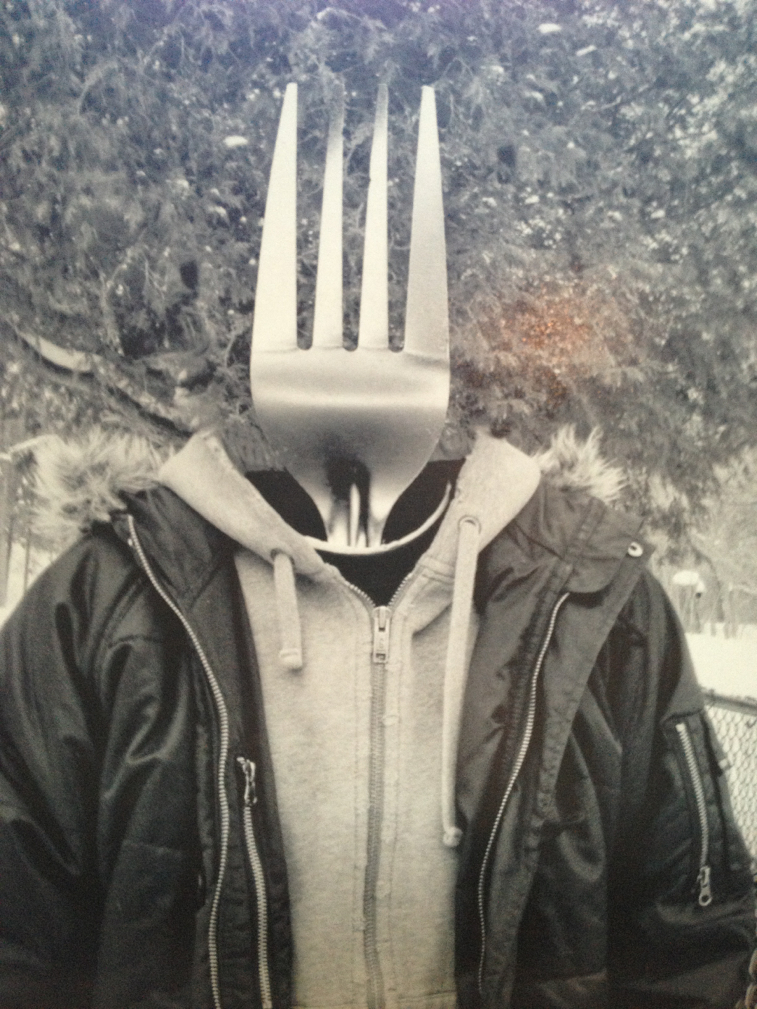 """From the Archives""    One of my original surreal projects where I took portraits of my friends (this one being my ex) ad replaced their heads with utensils. I need to go back and re-edit these"