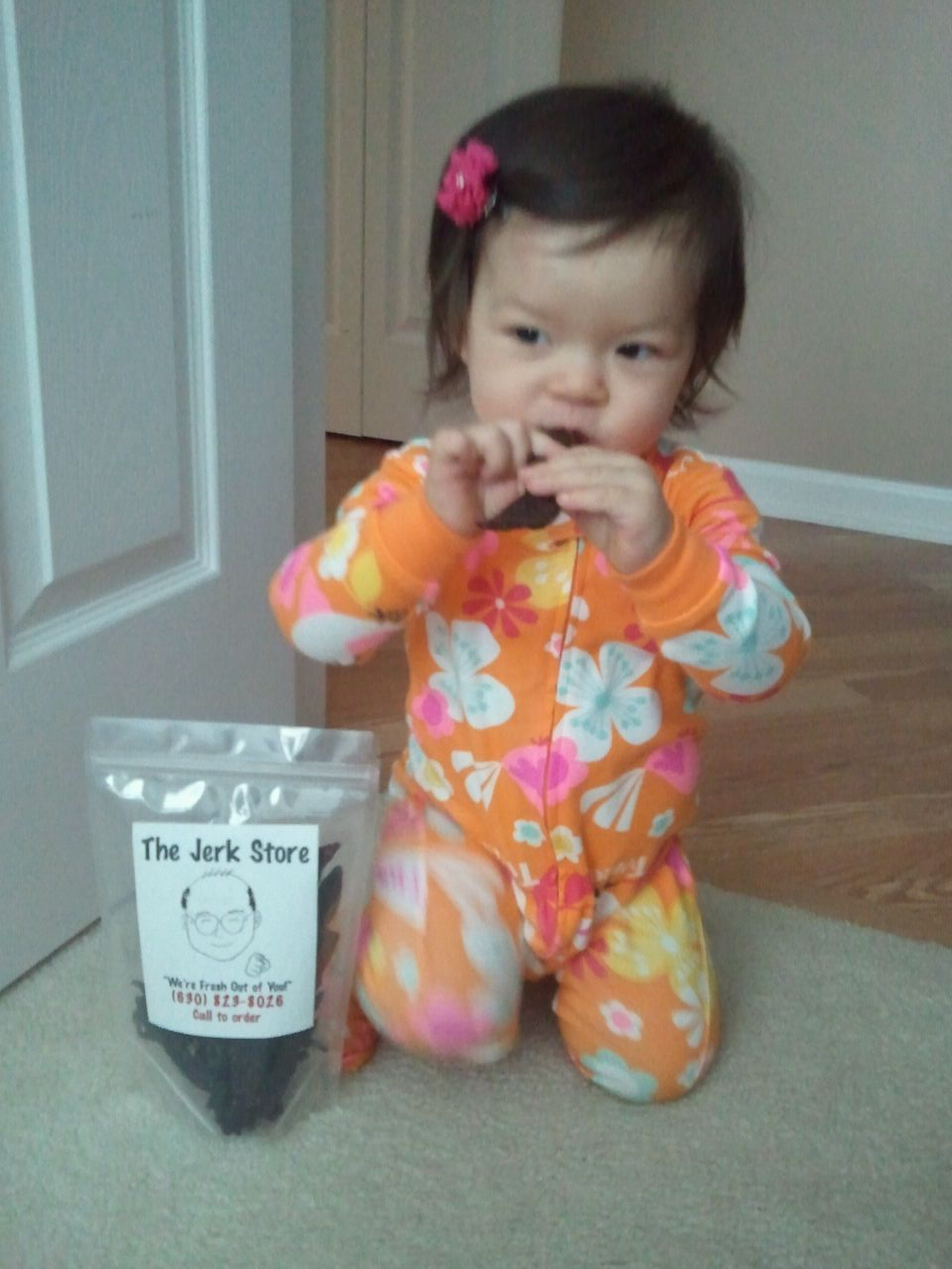 This is Johnny Jerk's baby, Reese!!  *Baby's don't eat jerky but she's too cute to leave off the site.