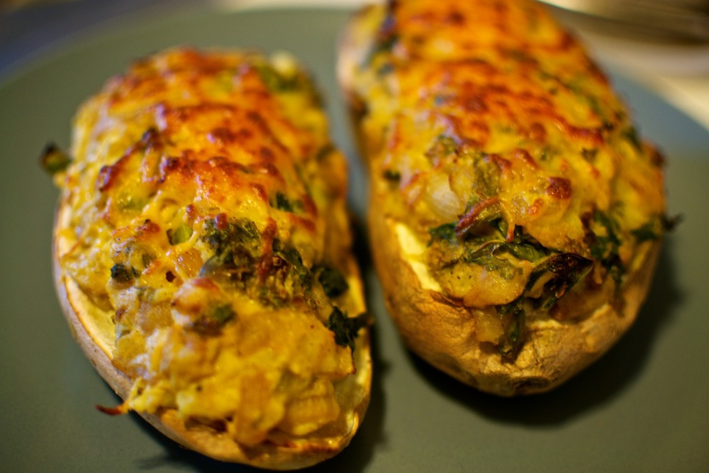 Stuffed & baked sweet potatoes