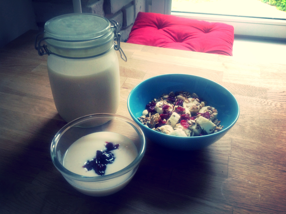 Homemade almond milk yogurt and homemade roasted muesli