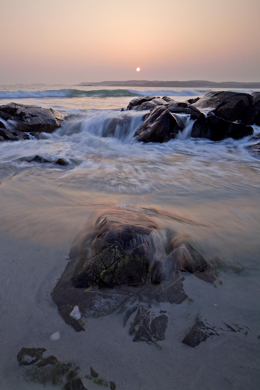 Sunset on a beach near Ballyconneely