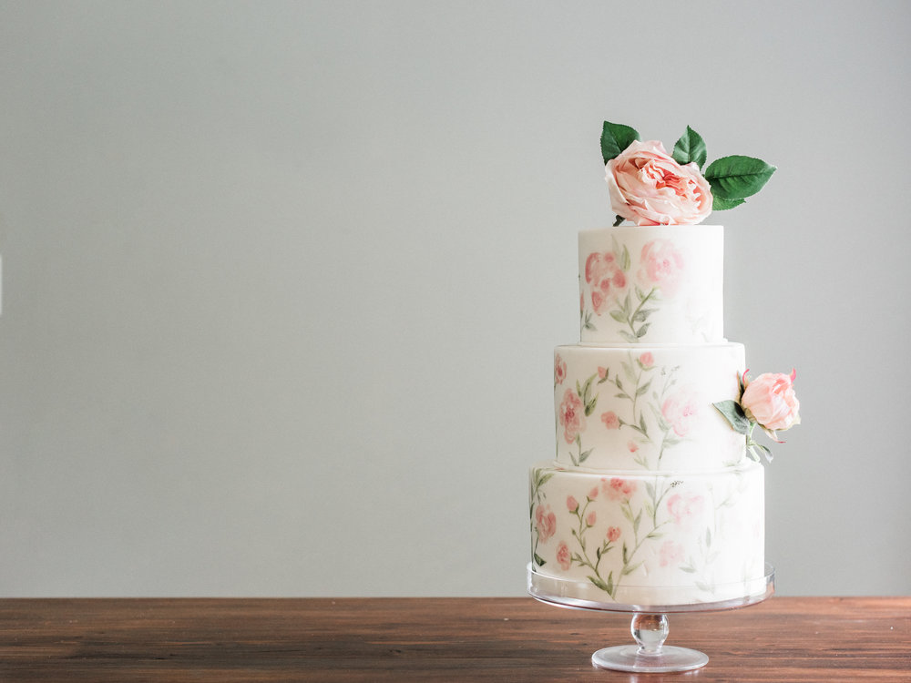 H A N D  PAINTED CAKES - We are beyond thrilled to partner with Love is In the Air Events, and paint on their delicious cakes! A beautiful way to carry your custom suite design to your cake.