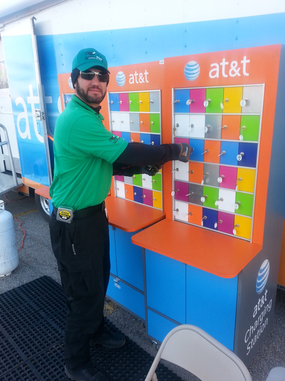 Temporary Repair crew member stops by AT&T charging station to get some power juice. What an amazing way to give back