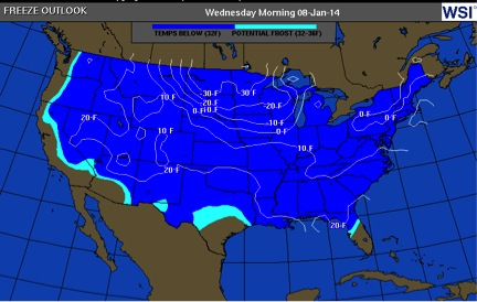 The deep freeze 1/6 - 1/8  2014  predicted more than 7 days prior to event.