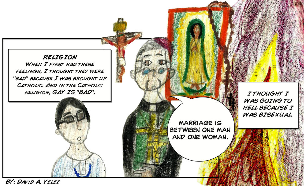 A cartoon drawn by David V. at an Interrupt media making workshop for issue 4 LGBT*love