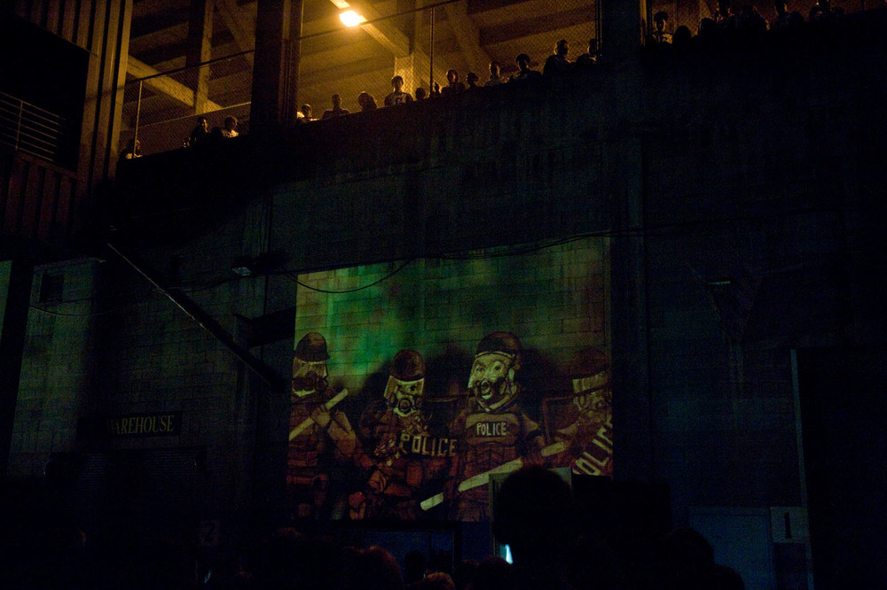 Hand painted animation pieces are projected on site, telling the stories of the anti-heroines of Predator Songstress