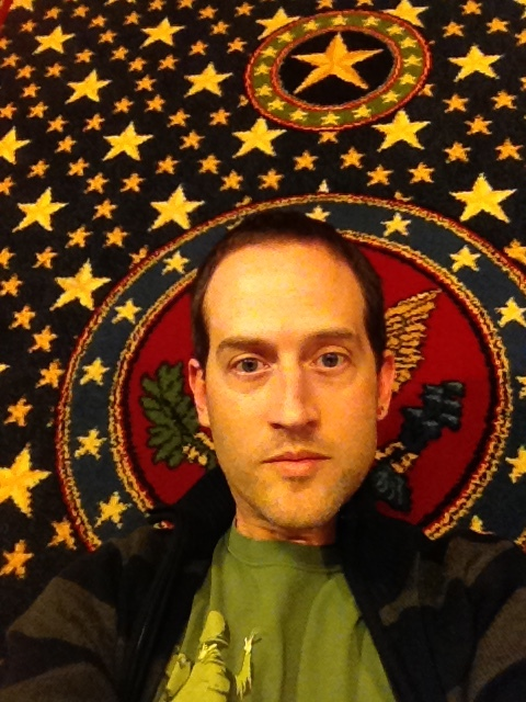 After a late night drive from the Philadelphia airport we arrived at a very patriotic hotel with carpets like this. With Lincoln portrait paintings every where.