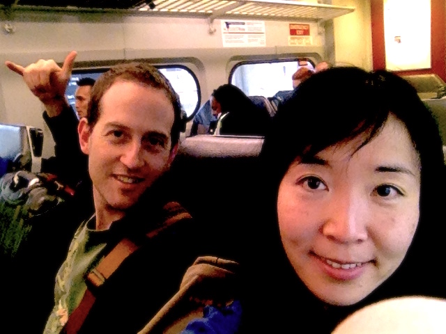 "Here we are on the train from Philadelphia airport to go to downtown. So excited that Tanya from the National Arts Parks Foundation has set us up for an adventure to meet with the Gettysburg Foundation and the Gettysburg National Military Park for a possible art collaboration in the future. We did not know what to expect, so we decided to ride the wave to what it might bring us as an incredible adventure. I must say, coming from Seattle, it was so refreshing to see that culturally, the city of Philadelphia and the people on the train were so mixed wow! and it felt like ""now I am in real America..! ""  -Crow"