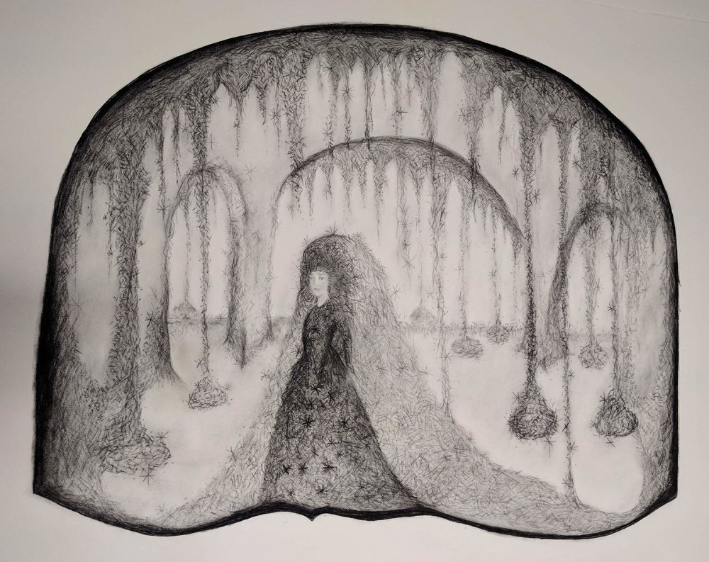 This is Elizabeth Jameson's artist sketch of the cave scene for the fairytale Wild Swans in which the protagonist has to weave garments out of stinging nettles in order to break the spell that curses her and her brothers.