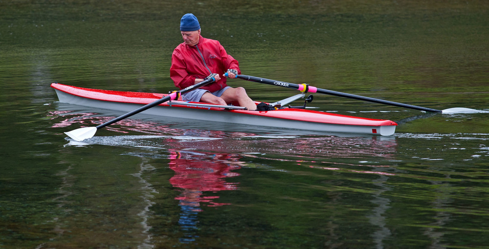 A rower takes a morning jaunt around the Northwest Arm.