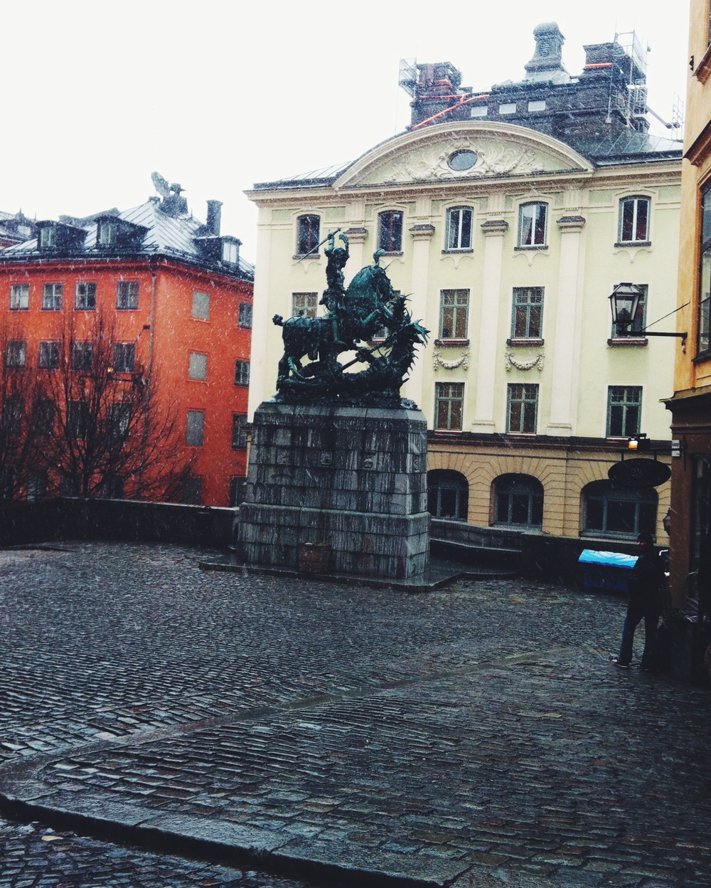 snowing in Gamla Stan