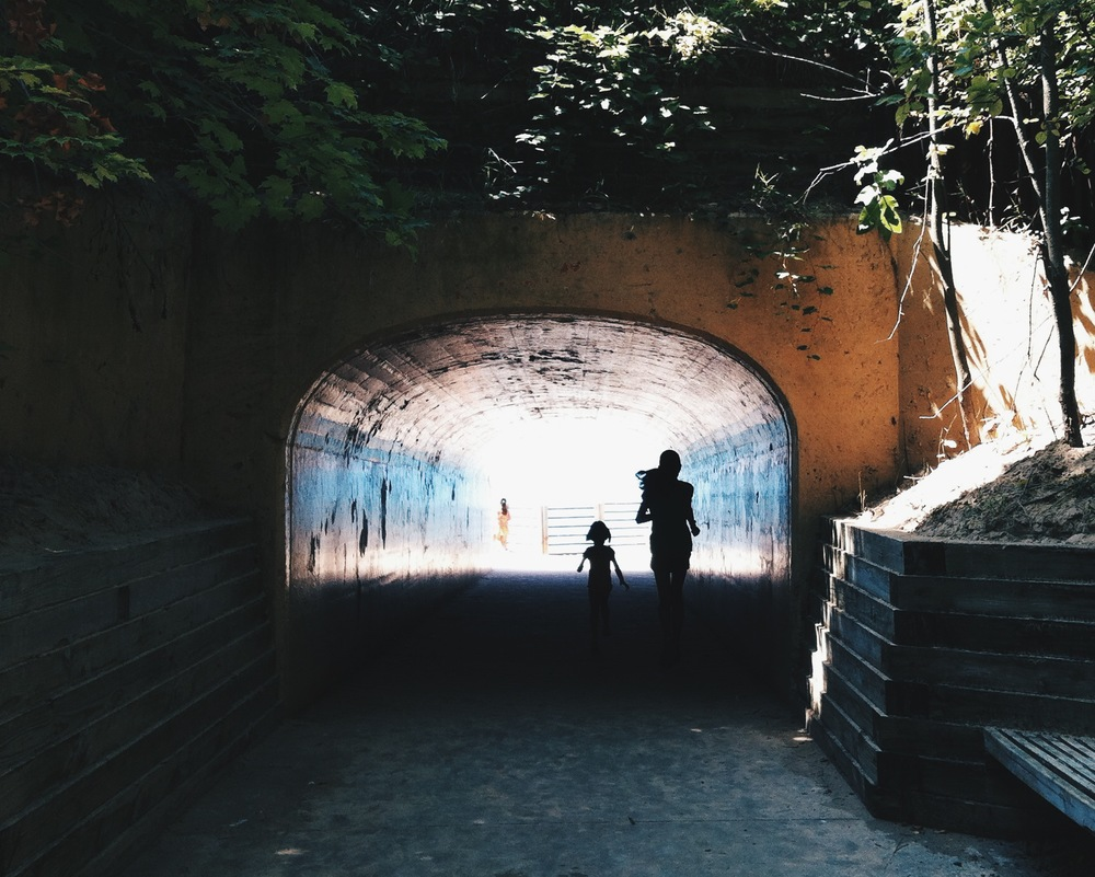 running through the tunnel to get to Tunnel Park on Lake Michigan