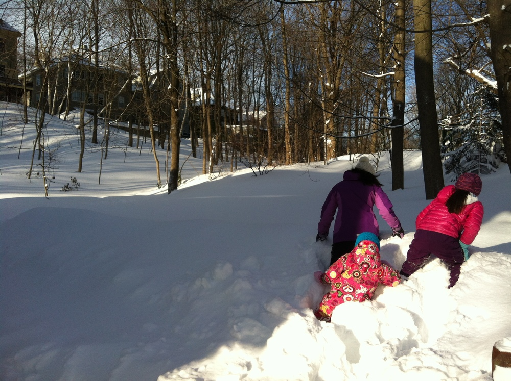 here are the girls, trudging through waist deep snow! :)