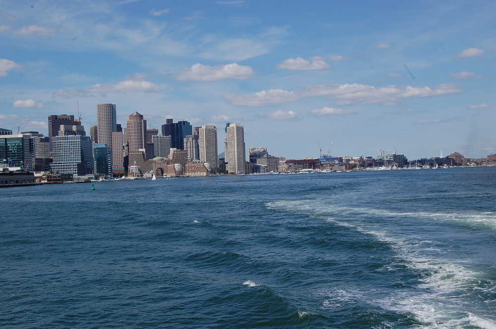 view of Boston from ferry