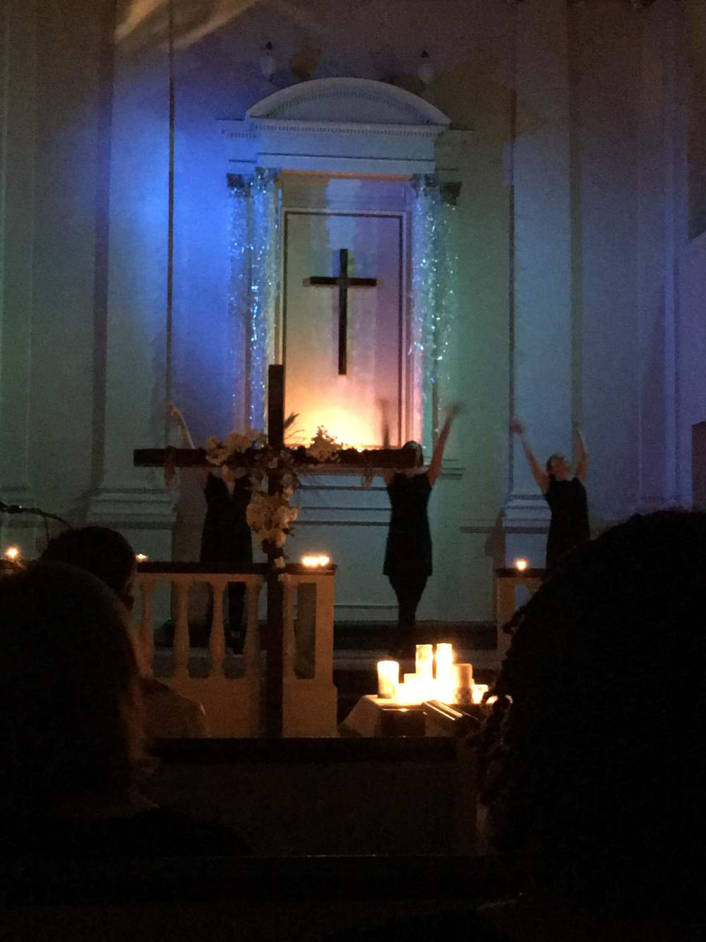 "During the Easter Vigil - it was dark and the installation was lit by lights with blue gels. a dance performance with original song was being performed as the blue lights went on slowly on the installation. credit for the lights must go to Ryan Ruffing, who patiently bore with my many emails sent his way titled ""Lights!!!"""