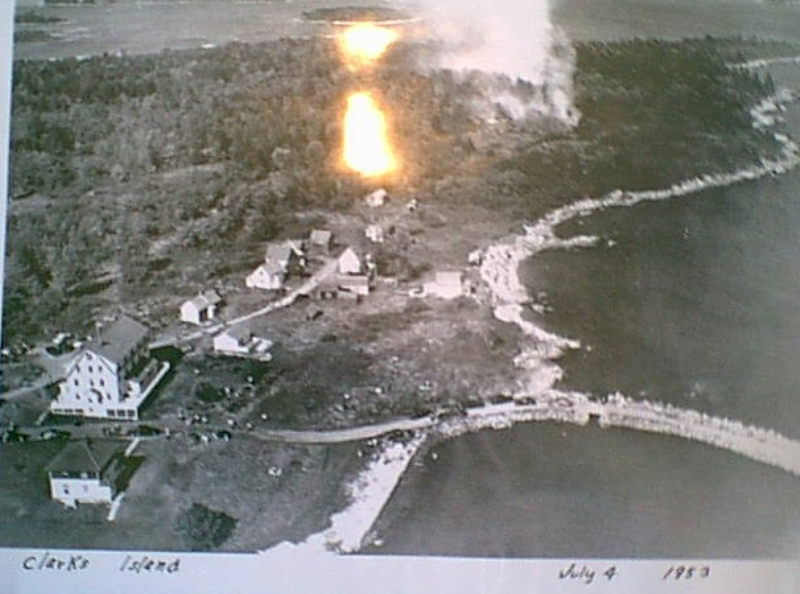 fire in Clark Island Village, 1953