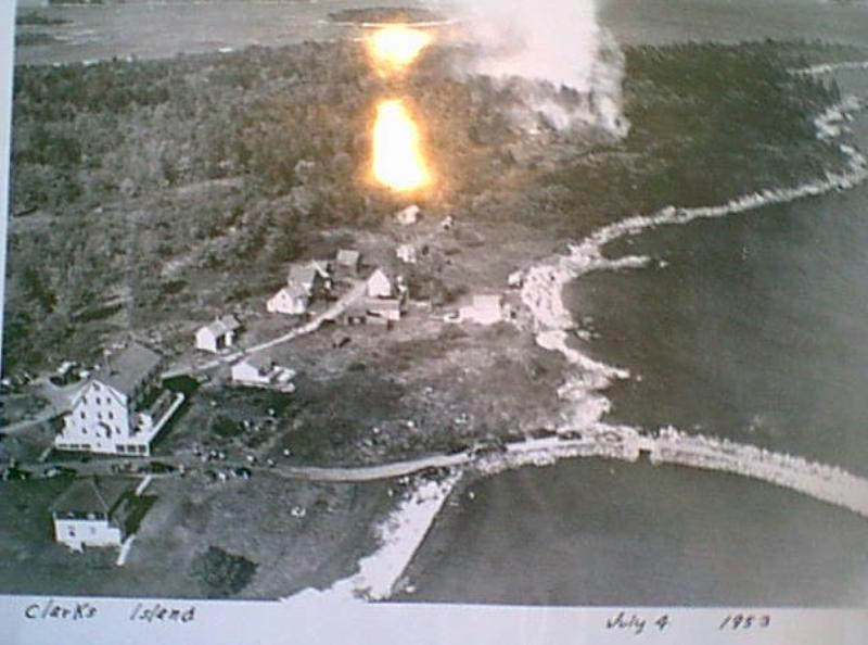 fire in Clark Island Village, 1953