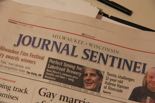 Lakefront Brewery President Russ Klisch appeared on the front page of the Journal Sentinel the day after we toured his brewery.