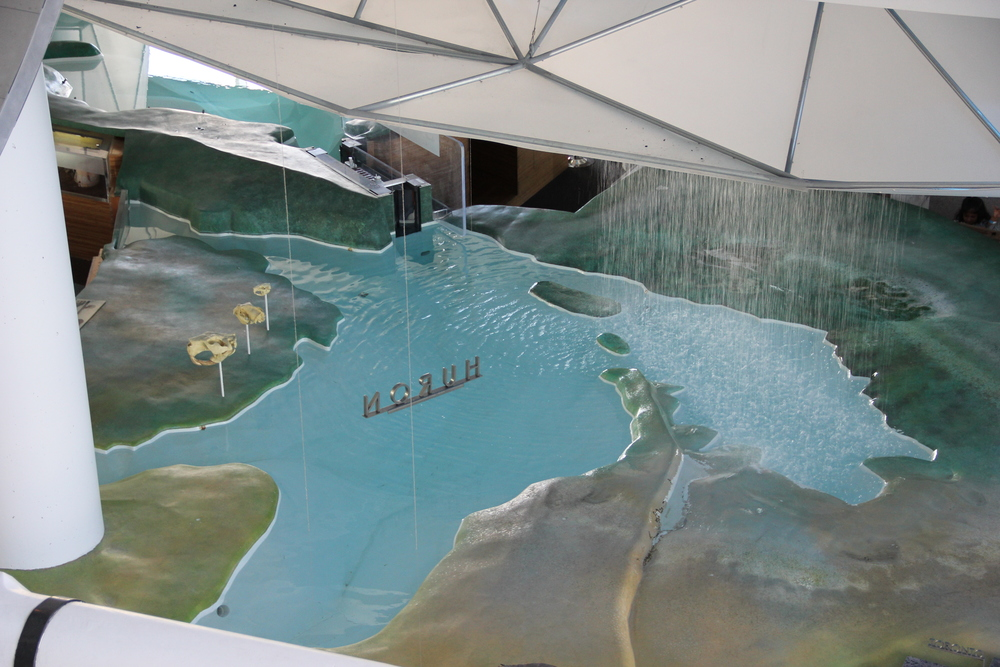 An interactive model of the Great Lakes at Discovery World.
