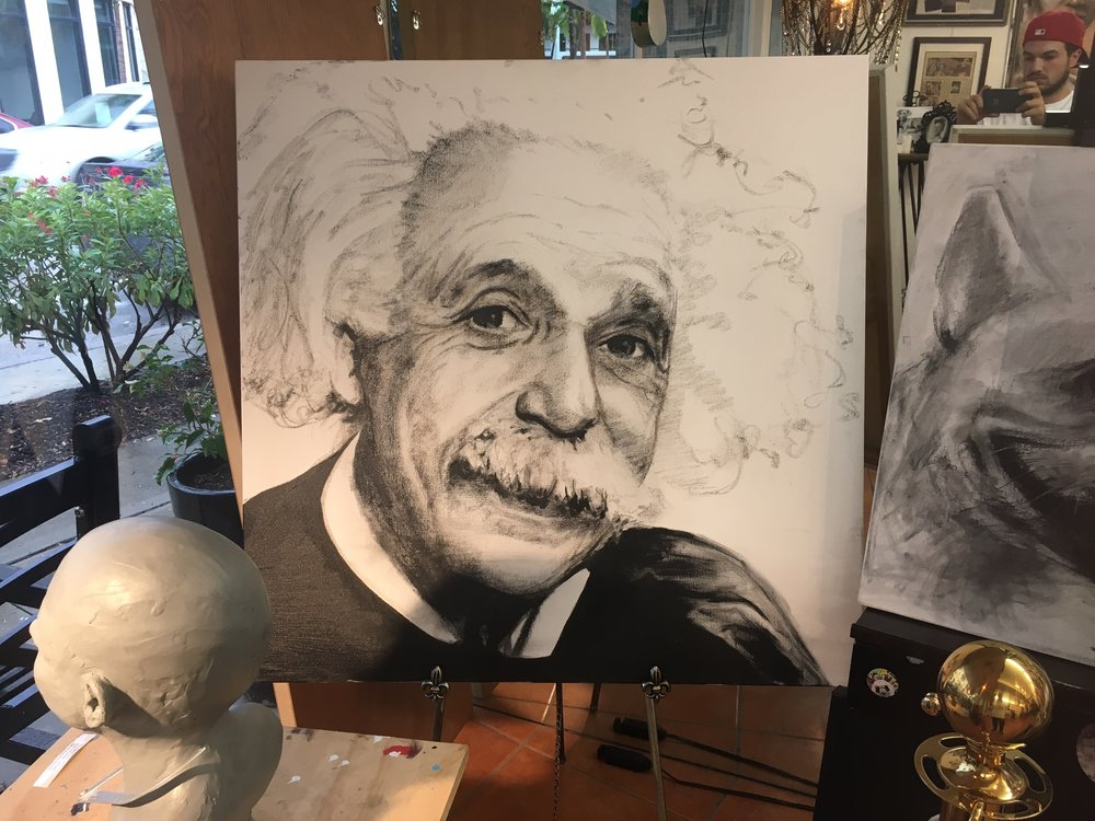 Imagine$500 - Charcoal and Acrylic on canvas