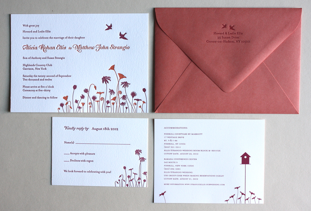 A recent letterpress printed wedding suite for a lovely Brooklyn pair, getting married in the New York countryside. In Pumpkin and Cranberry ink we printed a design of Barn Swallows hovering over a field of Wildflowers, Thistles, Poppies and Fiddlehead Ferns.