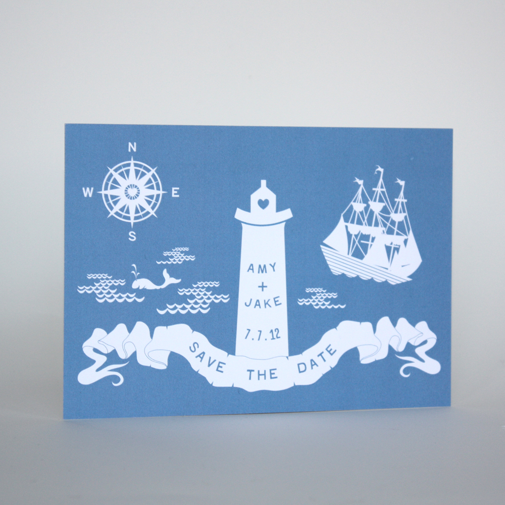 A Recent Save The Date Postcard for Amy & Jake, who's Wedding will take place in July. I'll be working on their custom letterpress invitations over the coming months. It's to take place in Portsmouth, New Hampshire so a French blue nautical theme is happening!