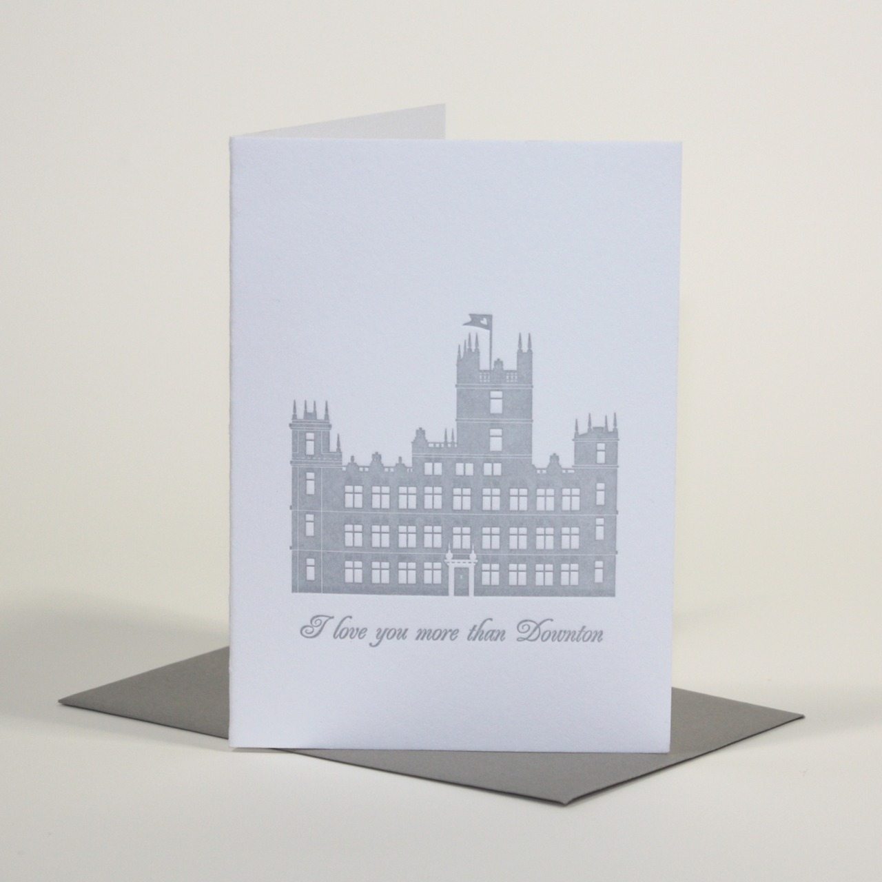 Back by popular demand! I have printed a second run of 100 Downton Abbey cards also available in my Etsy Shop. this time in Pewter Grey with a Gravel Grey envelope. The first edition sold so well and so many people are still asking for them, so eventually I broke down and here we are! Downton Forever xo