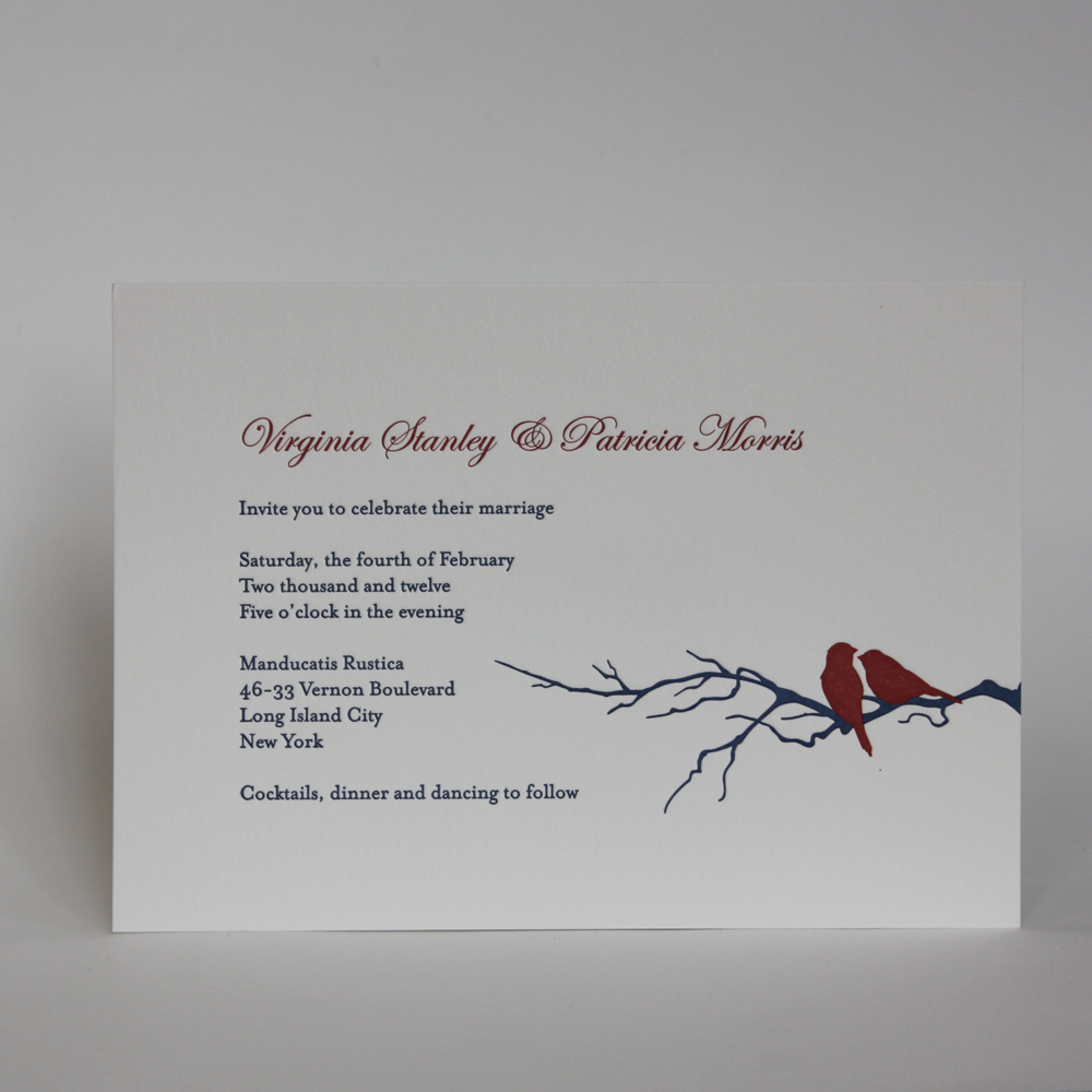 Winter Birds and Branches Recently completed letterpress job in Navy and Crimson on Soft White for a winter wedding coming up in February for a lovely couple from Astoria, Queens.