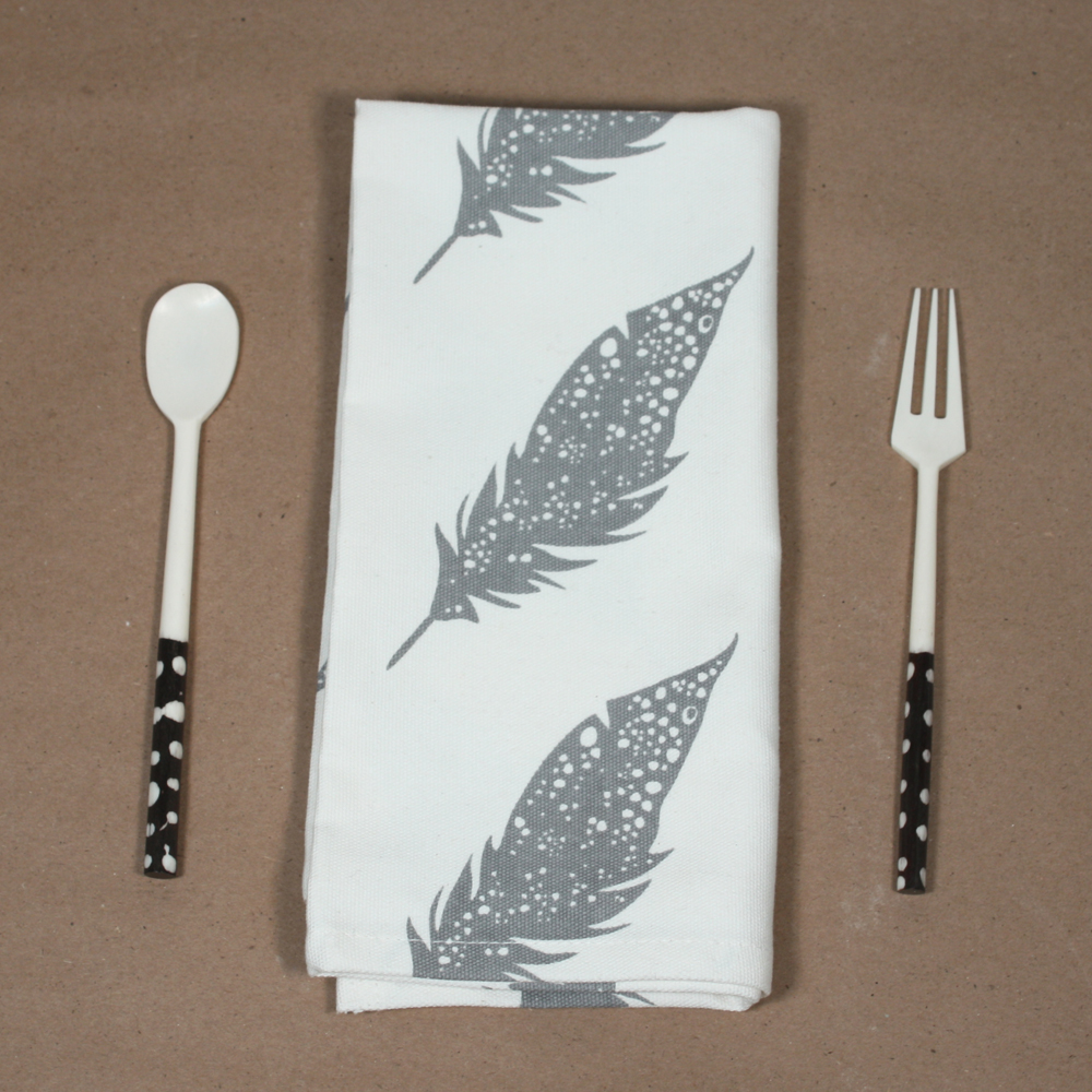 Dove Grey Feather or Chartreuse Artichoke Napkins available only at the Shop in sets of 2,4,6 or 8. Limited availability I only made 50 of each design, so not too many households will have these!. Here is the price breakdown: 2 napkins $24 4 napkins $44 6 napkins $60 8 napkins $75