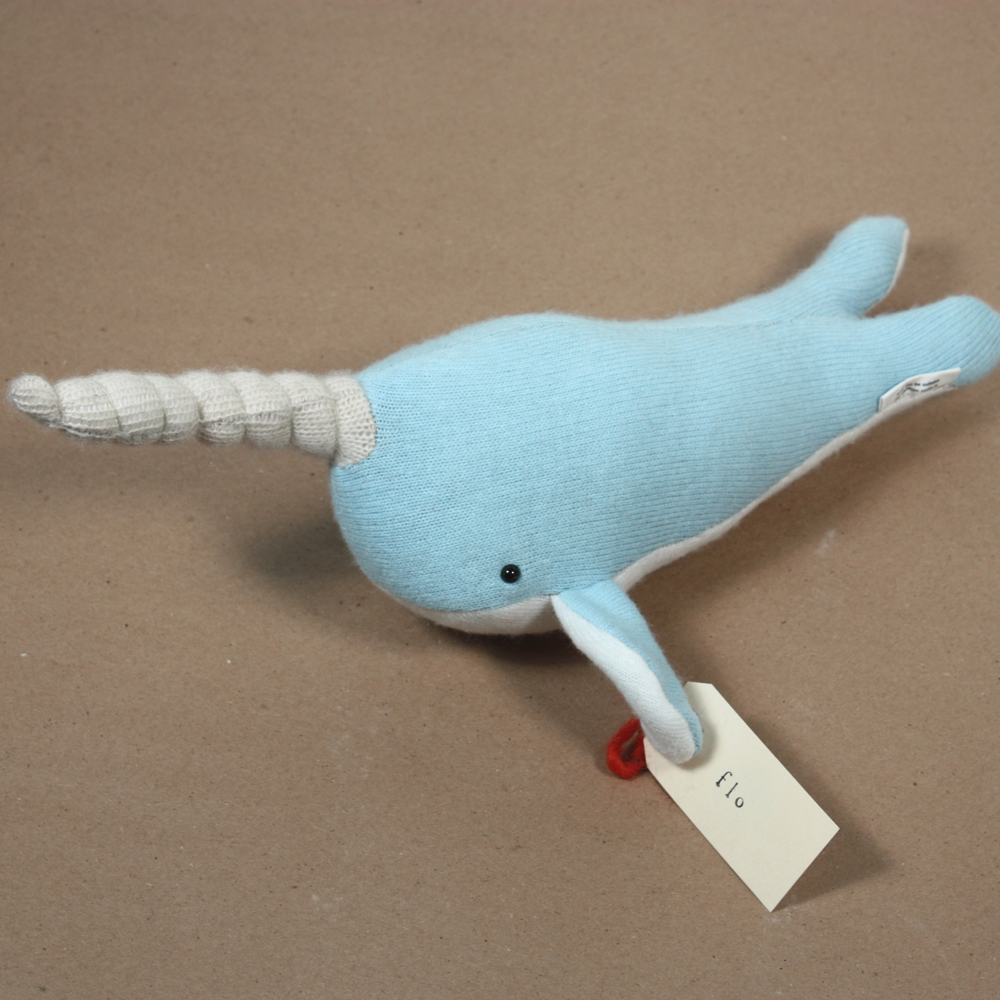 Meet Flo the Narwhal, the latest creation from Caitlin Wicker of Sweater Toys she will only be in the Shop for a hot minute before someone snaps her up but for now she is hanging with a school of sharks currently awaiting new homes at Foxy & Winston.
