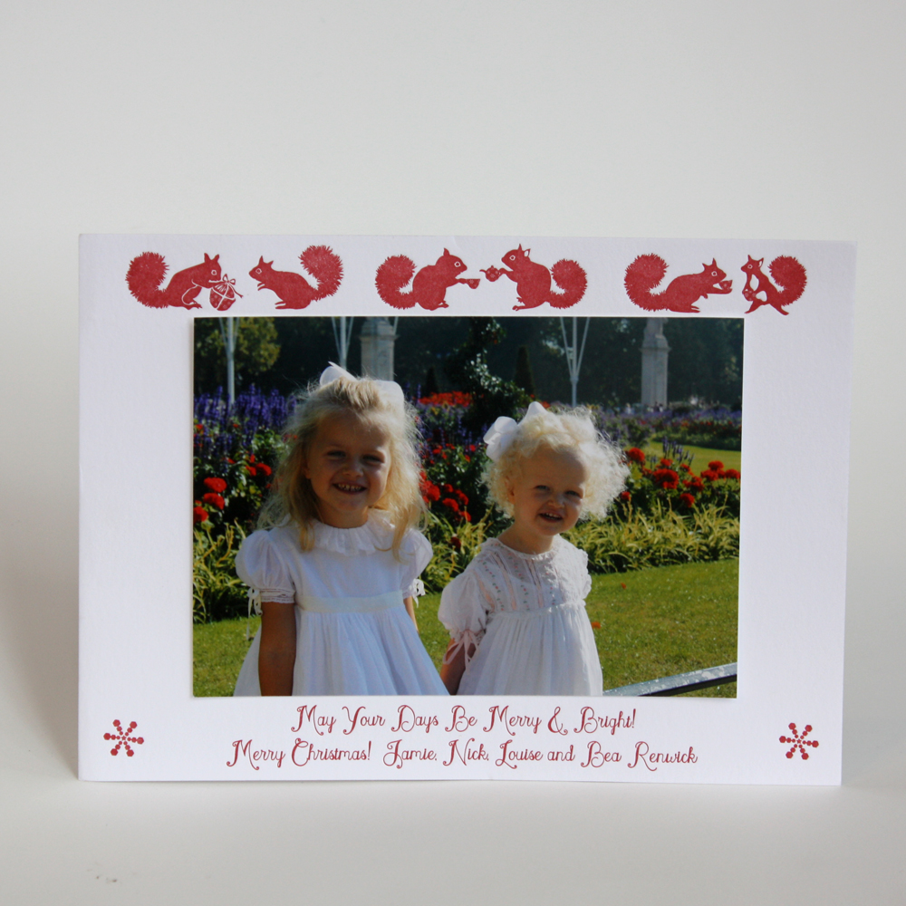 First holiday cards of the year are complete and ready to ship to London. I'll admit, this is a lovely repeat client and I used last years photo to stick in the middle for show and tell purposes. The kids (Louise and Bea) are a year older now and cuter than ever! Jamie will be sticking in her in her updated photo's when these cards make it across the pond.