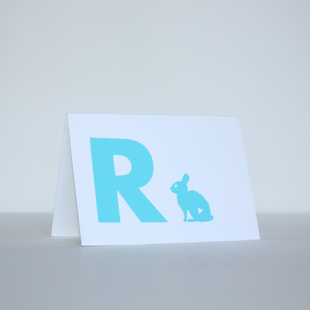 A small and simple custom job to start off the week. R is for Roman (since it IS the year of the Rabbit) and this little chap has his own set of stationery to send out to his family and friends.