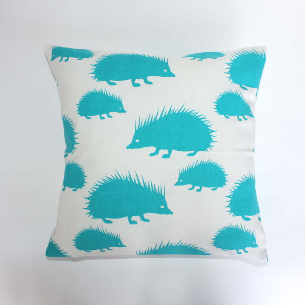 "Pillows back in stock Small 12"" square pillows are now available for sale on the website in 3 patterns: Hedgehogs, Artichokes and Pears $30 each."