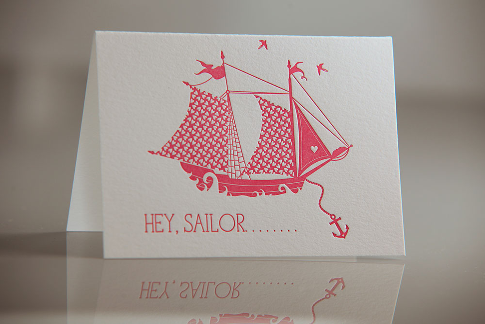 letterpress hello sailor greeting card - Letterpress Greeting Cards