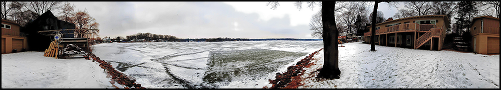 January 6, 2013                   Boathouse Studio, Lake Beulah, Wisconsin  Got back to Lake Beulah at about 3:30PM ...Did the opening up chores, checked on Bruce and did this quick Panorama of the 4:30 PM Sunset ..Still not getting the clouds, sunset and the colors of both to cooperate but maybe during the next couple of days before heaing back to Long Grove on Wednesday .. Lake report 25 degrees F ..No wind ...But the lake is alive or was at 4:30PM with Fishermen, people walking their dogs , people just walking ...its' a beautiful thing ... Cheers ,  Tomba