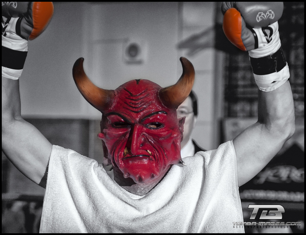 "The Devil (AKA Angel Hernandez) during the ""walk in"" of  fighters for Main Event."