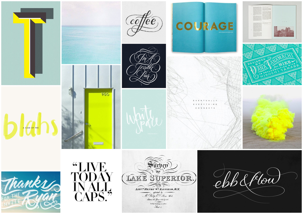 Mood Board- Chartreuse, blue waters, & type galore.